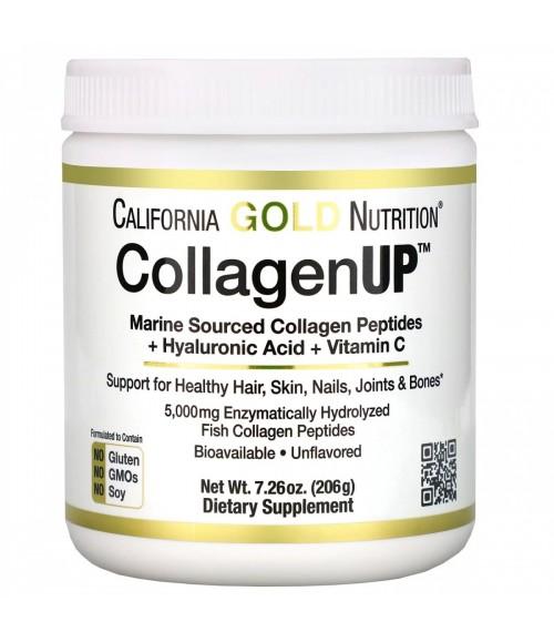 Морской коллаген, гиалуроновая кислота и витамин С -California Gold Nutrition, CollagenUP, 206г