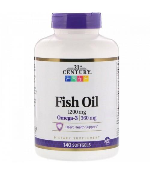 Рыбий жир Омега-3  - 21st Century Fish Oil, 1200 мг, 140 капсул