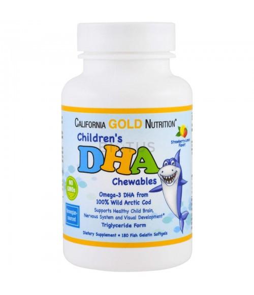 Витамины для детей в форме жевательных таблеток омега-3 - California Gold Nutrition DHA Chewables  180 мягких таблеток из рыбного желатина