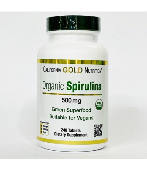 Органическая спирулина - California Gold Nutrition Organic Spirulina 500 мг, 240 таблеток