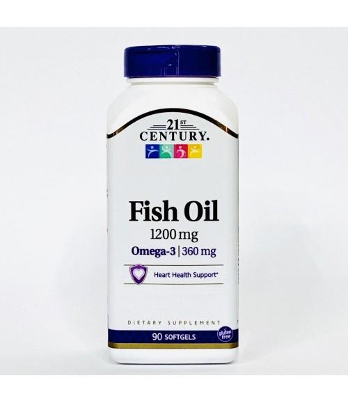 Рыбий жир Омега 3 - 21st Century, Fish Oil 1200 мг Omega 3 360 мг, 90 мягких таблеток