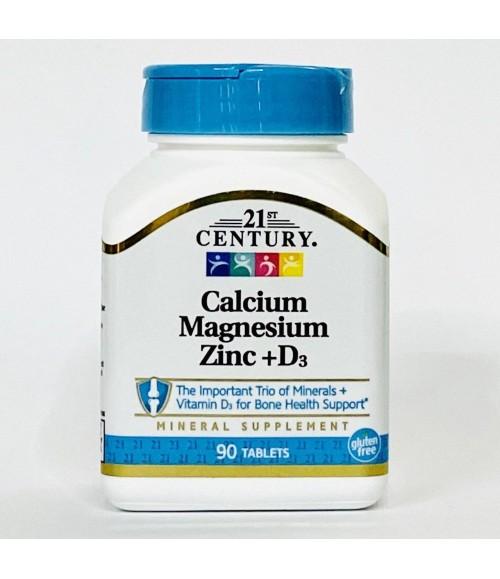 Витаминный комплекс: кальций магний цинк + витамин D3 - 21st Сentury Calcium Magnesium Zinc + D3, 90 таблеток