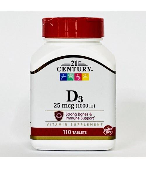 Витамин D3 - 21st Century D3 25 mcg (1000 IU), 110 таблеток