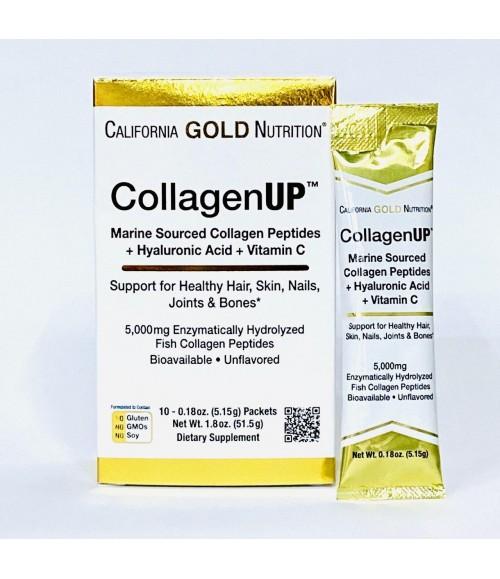 Морской коллаген + гиалуроновая кислота + витамин C в пакетах - California Gold Nutrition CollagenUP Packets, 10 шт