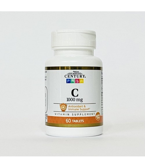 Витамин C + кальций - 21st Century 1000 мг, 60 таблеток