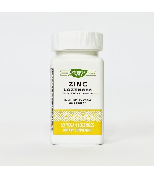 Цинк, Витамин С, Эхинацея для поддержания иммунитета - Nature's Way Zinc Lozenges, 60 леденцов