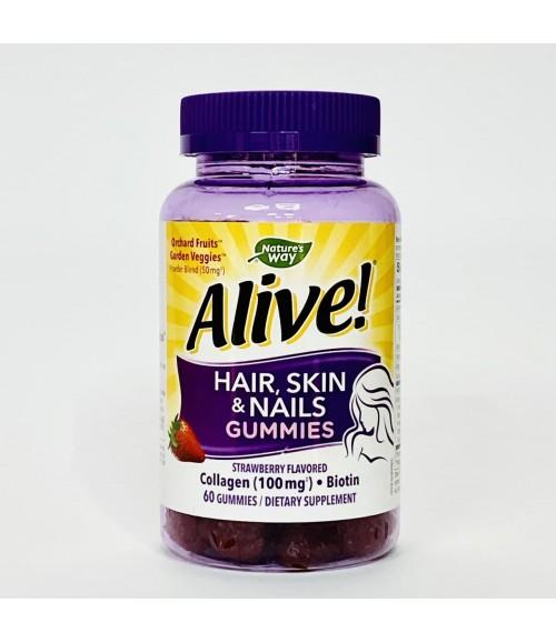 Мультивитаминный жевательный комплекс для волос, кожи и ногтей со вкусом клубники - Nature's Way Alive Hair, Skin & Nails Gummies, 60 жевательных таблеток