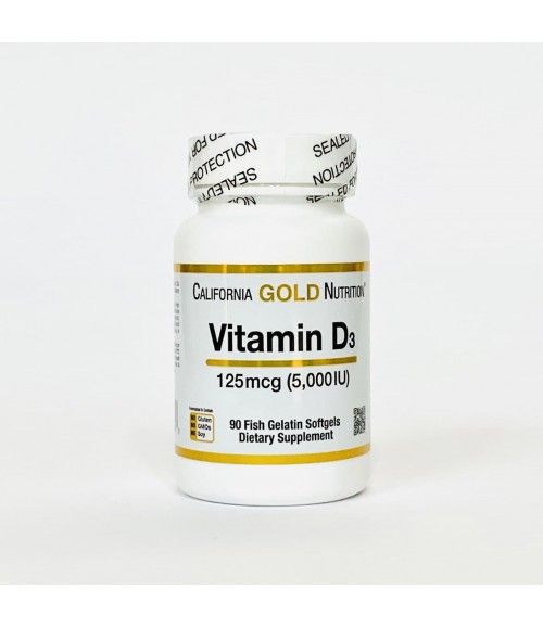 Витамин D3 5000 - California Gold Nutrition Vitamin D3, 90 капсул
