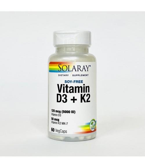 Витамин D3 + K2 - Solaray Vitamin D3 + K2, 60 вегетарианских капсул