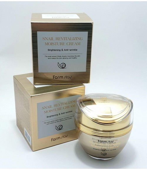 Равликовий крем для лица - Farm Stay Snail Revitalizing Moisture Cream Brightening & Anti-wrinkle, 50 мл
