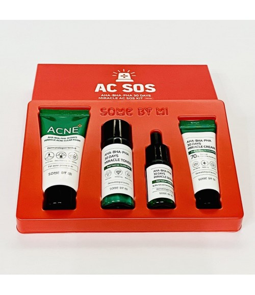 Набор средств с кислотами для жирной, проблемной кожи - Some By Mi AC SOS AHA.BHA.PHA 30 Days Miracle Kit