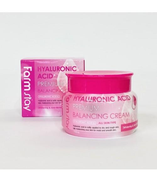 Крем для увлажнения всех типов кожи - Farm Stay Hyaluronic Acid Premium Balancing Cream, 100 г